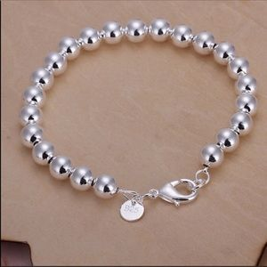 """Jewelry - 925 Stamped SS 7.5"""" Long 8mm Beaded Bracelet NWT"""